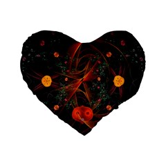 Fractal Wallpaper With Dancing Planets On Black Background Standard 16  Premium Flano Heart Shape Cushions