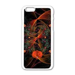 Fractal Wallpaper With Dancing Planets On Black Background Apple iPhone 6/6S White Enamel Case