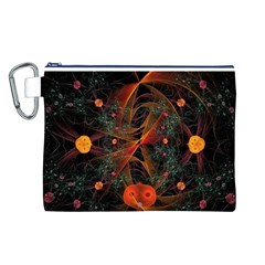 Fractal Wallpaper With Dancing Planets On Black Background Canvas Cosmetic Bag (L)