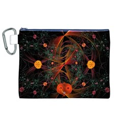 Fractal Wallpaper With Dancing Planets On Black Background Canvas Cosmetic Bag (XL)