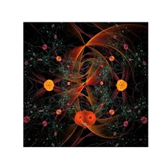 Fractal Wallpaper With Dancing Planets On Black Background Small Satin Scarf (Square)