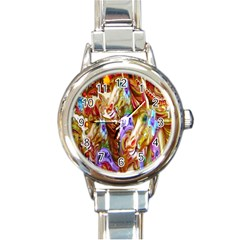 3 Carousel Ride Horses Round Italian Charm Watch