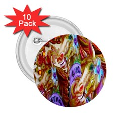 3 Carousel Ride Horses 2.25  Buttons (10 pack)