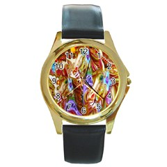3 Carousel Ride Horses Round Gold Metal Watch