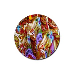 3 Carousel Ride Horses Rubber Round Coaster (4 pack)
