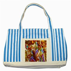 3 Carousel Ride Horses Striped Blue Tote Bag