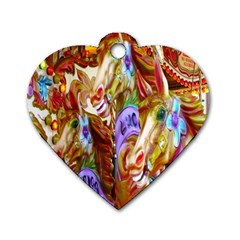 3 Carousel Ride Horses Dog Tag Heart (One Side)