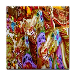 3 Carousel Ride Horses Face Towel