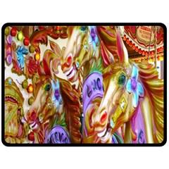 3 Carousel Ride Horses Fleece Blanket (large)