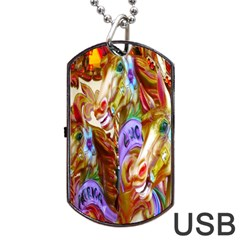 3 Carousel Ride Horses Dog Tag USB Flash (One Side)