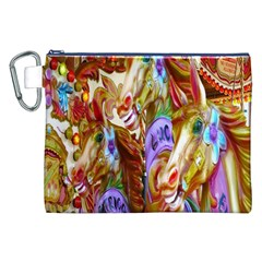 3 Carousel Ride Horses Canvas Cosmetic Bag (xxl)