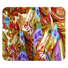3 Carousel Ride Horses Double Sided Flano Blanket (Small)