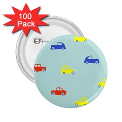 Car Yellow Blue Orange 2.25  Buttons (100 pack)
