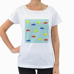 Car Yellow Blue Orange Women s Loose-Fit T-Shirt (White)