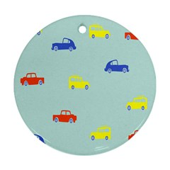 Car Yellow Blue Orange Round Ornament (Two Sides)