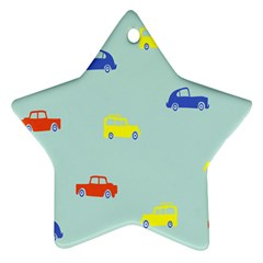Car Yellow Blue Orange Star Ornament (Two Sides)
