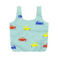 Car Yellow Blue Orange Full Print Recycle Bags (M)