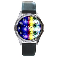A Creative Colorful Background Round Metal Watch