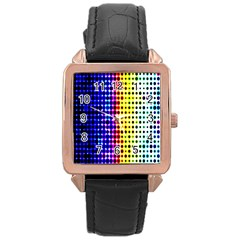 A Creative Colorful Background Rose Gold Leather Watch