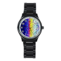 A Creative Colorful Background Stainless Steel Round Watch