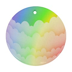Cloud Blue Sky Rainbow Pink Yellow Green Red White Wave Ornament (Round)