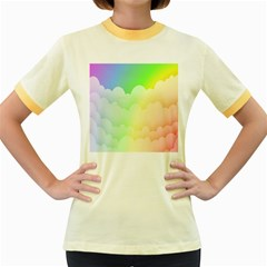 Cloud Blue Sky Rainbow Pink Yellow Green Red White Wave Women s Fitted Ringer T-Shirts