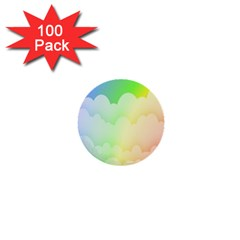 Cloud Blue Sky Rainbow Pink Yellow Green Red White Wave 1  Mini Buttons (100 pack)