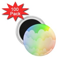 Cloud Blue Sky Rainbow Pink Yellow Green Red White Wave 1.75  Magnets (100 pack)