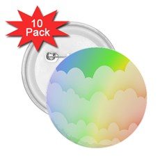 Cloud Blue Sky Rainbow Pink Yellow Green Red White Wave 2.25  Buttons (10 pack)