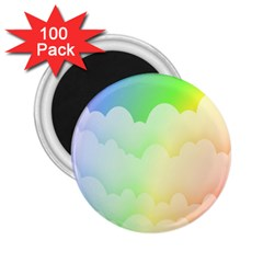 Cloud Blue Sky Rainbow Pink Yellow Green Red White Wave 2.25  Magnets (100 pack)