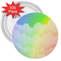 Cloud Blue Sky Rainbow Pink Yellow Green Red White Wave 3  Buttons (100 pack)