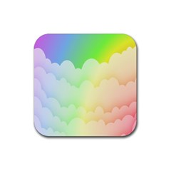 Cloud Blue Sky Rainbow Pink Yellow Green Red White Wave Rubber Coaster (Square)
