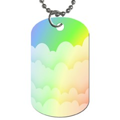 Cloud Blue Sky Rainbow Pink Yellow Green Red White Wave Dog Tag (One Side)