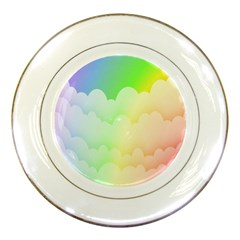 Cloud Blue Sky Rainbow Pink Yellow Green Red White Wave Porcelain Plates