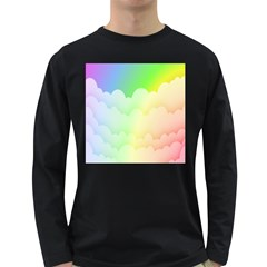Cloud Blue Sky Rainbow Pink Yellow Green Red White Wave Long Sleeve Dark T-Shirts