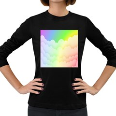 Cloud Blue Sky Rainbow Pink Yellow Green Red White Wave Women s Long Sleeve Dark T-Shirts