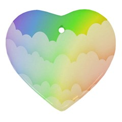 Cloud Blue Sky Rainbow Pink Yellow Green Red White Wave Heart Ornament (Two Sides)