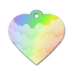 Cloud Blue Sky Rainbow Pink Yellow Green Red White Wave Dog Tag Heart (Two Sides)