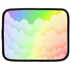 Cloud Blue Sky Rainbow Pink Yellow Green Red White Wave Netbook Case (XL)