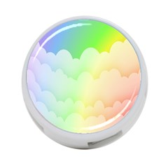 Cloud Blue Sky Rainbow Pink Yellow Green Red White Wave 4-Port USB Hub (One Side)