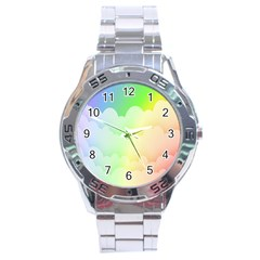 Cloud Blue Sky Rainbow Pink Yellow Green Red White Wave Stainless Steel Analogue Watch