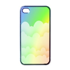 Cloud Blue Sky Rainbow Pink Yellow Green Red White Wave Apple iPhone 4 Case (Black)
