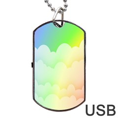 Cloud Blue Sky Rainbow Pink Yellow Green Red White Wave Dog Tag USB Flash (One Side)