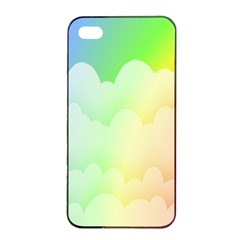 Cloud Blue Sky Rainbow Pink Yellow Green Red White Wave Apple iPhone 4/4s Seamless Case (Black)