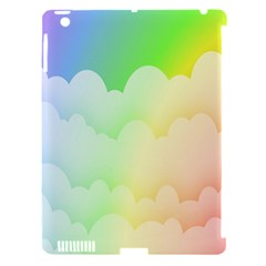 Cloud Blue Sky Rainbow Pink Yellow Green Red White Wave Apple iPad 3/4 Hardshell Case (Compatible with Smart Cover)