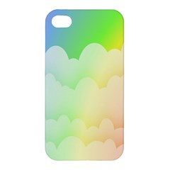 Cloud Blue Sky Rainbow Pink Yellow Green Red White Wave Apple iPhone 4/4S Premium Hardshell Case