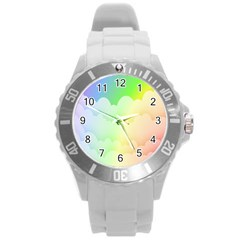Cloud Blue Sky Rainbow Pink Yellow Green Red White Wave Round Plastic Sport Watch (L)