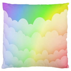 Cloud Blue Sky Rainbow Pink Yellow Green Red White Wave Large Cushion Case (Two Sides)