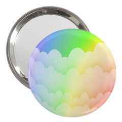 Cloud Blue Sky Rainbow Pink Yellow Green Red White Wave 3  Handbag Mirrors