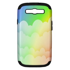 Cloud Blue Sky Rainbow Pink Yellow Green Red White Wave Samsung Galaxy S III Hardshell Case (PC+Silicone)